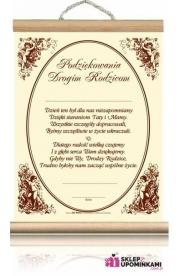 Dyplom Podziękowanie Rodzicom za Ślub