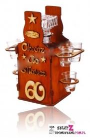 Kieliszki stojak Butelka prezent na 60 Urodziny