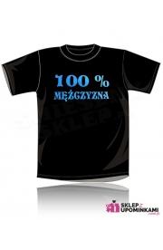 Koszulka śmieszna z napisem 100 % Mężczyzna