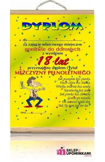 Dyplom życzenia Na 18 Urodziny Chłopaka Sklep Z Upominkami
