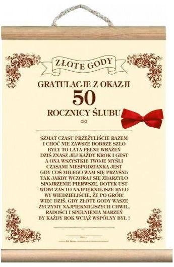 Dyplom życzenia Na 50 Rocznicę ślubu