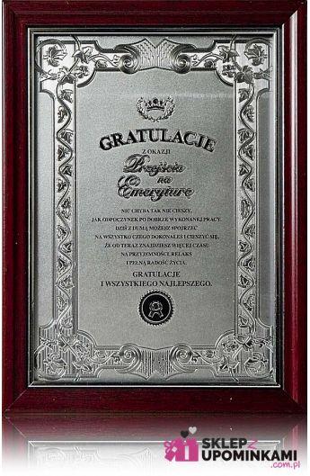 dyplom certyfikat na emeryturę