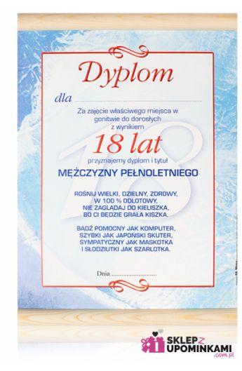 dyplom certyfikat życzenia 18 urodziny
