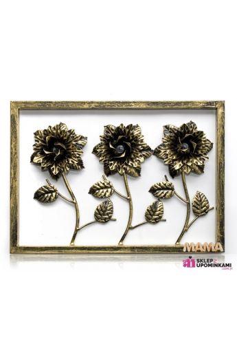obraz róże metalowa dekoracja