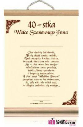 życzenia dyplom 40 urodziny