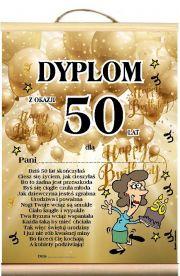 Dyplom życzenia na 50 Urodziny Pani