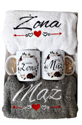 Ręczniki i kubki zestaw na Ślub Rocznicę