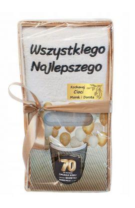 Ręcznik i kubek zestaw na 70 urodziny
