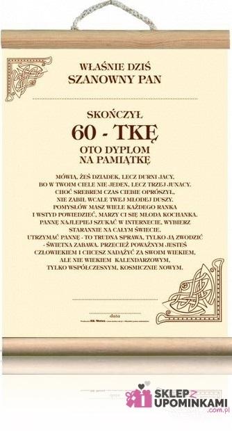 Dyplom życzenia Na 60 Urodziny Pana