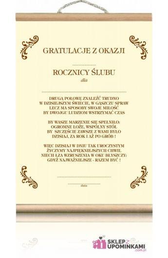 Dyplom życzenia Rocznica ślubu