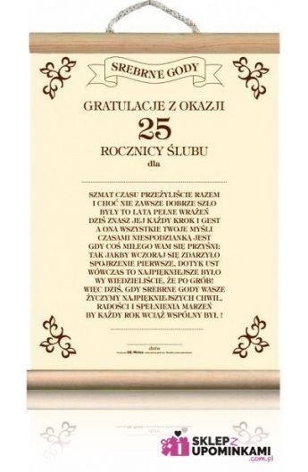 Dyplom życzenia Na 25 Rocznicę ślubu Sklep Z Upominkami