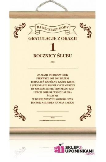 Dyplom życzenia 1 Rocznica ślubu